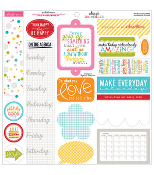 "Classic Calendars Cardstock Stickers 12""X12""-Just Write Journaling"