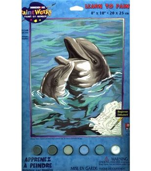 Dimensions Learn To Paint! Paint By Number Kit 8''X10''-Dolphin Duo