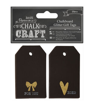 Papermania Chalk Craft Chalkboard Glitter Gift Tags