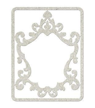 Fabscraps Ornate Frame Die-Cut Gray Chipboard Embellishments