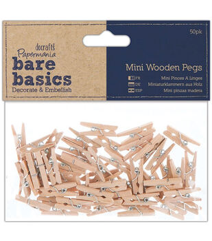 Docrafts Papermania Bare Basics Clothespins Mini Wooden Pegs