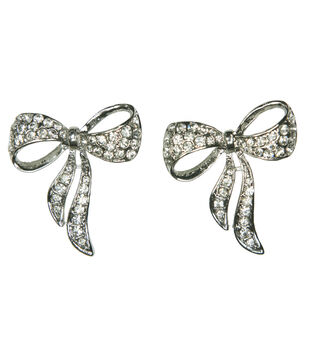 Laliberi Winter Knit 2 Pack Of Crystal Bow Accent Pins