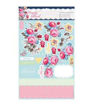 Papermania Simply Floral Pastel Blooms A4 Decoupage Pack