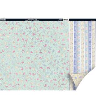 Kanban Seasons 2Sided Cardstock 12X12-Spring Leaves Aqua