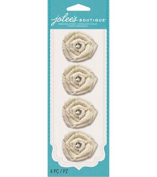 Jolee's Boutique Le Fleur Burlap Flowers With Gems