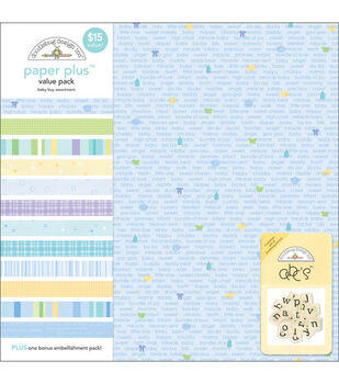 Doodlebug 12''x12'' Paper Plus Pack-12PK/Baby Boy