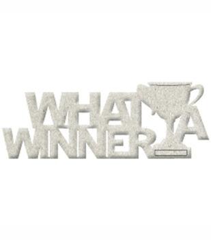 Fabscraps Die-Cut Grey Chipboard Word What A Winner