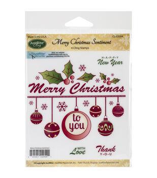 "JustRite Papercraft Mini Cling Stamp Set 3.5""X4""-Merry Christmas Sentiment 4pc"