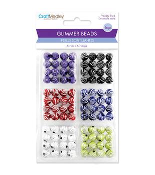 Craft Medley Glitter Swirl Disco Ball Bead Variety Pack