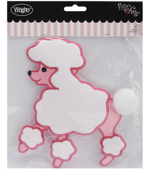 "Wrights Fifi & Gigi Poodle Iron-On Applique 5-1/2""X4-3/4-Pink & White"