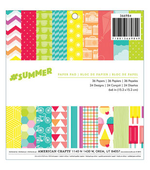 """#Summer paper Pad 6""""x6"""" 36/Sheets-Single-Sided"""