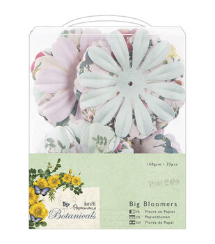 "Papermania Botanicals Big Bloomers Paper Flowers 3"" 32/Pkg-"
