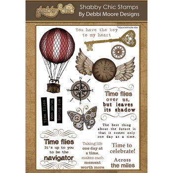 Debbi Moore Designs Shabby Chic Clear Stamp Set Time Flies