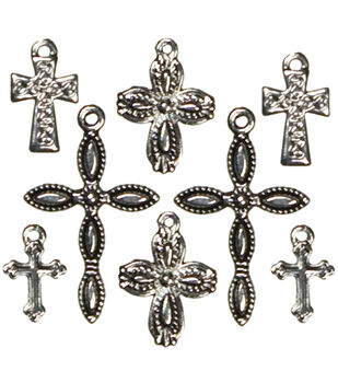 Cousin Jewelry Basics Metal Charms 8/Pkg-Crosses