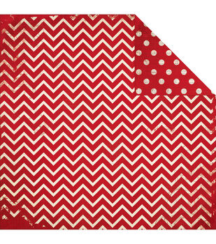 "BoBunny Double Dot Chevron Double-Sided Cardstock 12""x12""-Wild Berry"