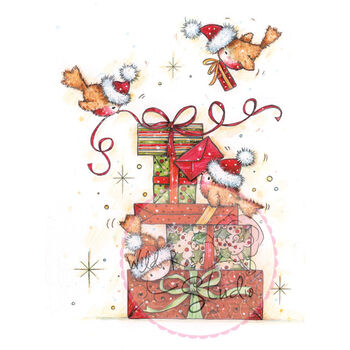 Wild Rose Studio Clear Stamp Robins On Presents