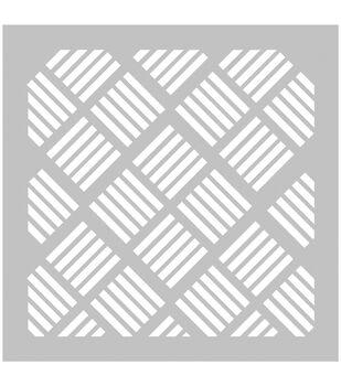 FabScraps Plastic Square Stripes Stencil