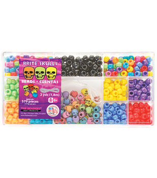 Bead Box Kit 579 Beads/Pkg-Brite Skulls