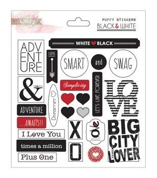 Glitz Design Black & White Puffy Word Stickers
