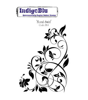 "IndigoBlu Cling Mounted Stamp 5""X4""-Floral Swirl"