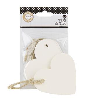 Ivory 10Pk-Tags & Ties Heart