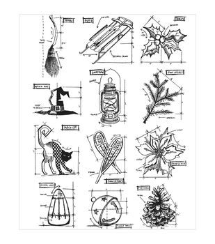 "Tim Holtz Cling Rubber Stamp Set 7""X8.5""-Mini Blueprints #7"