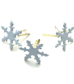 Painted Metal Snowflake Paper Fasteners-50PK/White