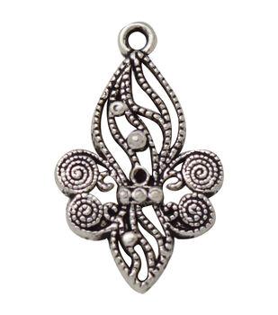 Silver embellishments 20/Pkg-Fleur Filigree