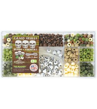 Bead Box Kit 579 Beads/Pkg-Camo Skulls