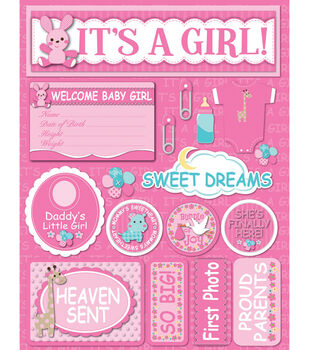 """Signature Dimensional Stickers 4.5""""X6"""" Sheet-It's A Girl"""