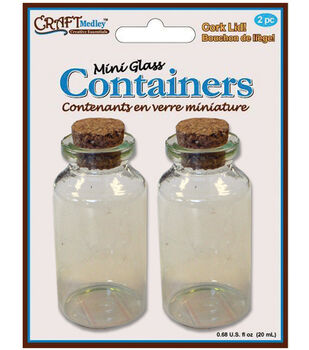 Glass Bottles W/Cork Lid .25ml 2/Pkg-