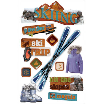 Paper House 3-D Sticker-Skiing
