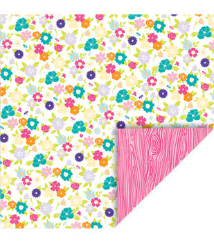 Queen  & Co Girl Floral Woodgrain Double-Sided Cardstock 12''x12''