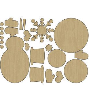 Snow Days Laser-Cut Wood Shapes-Snowman