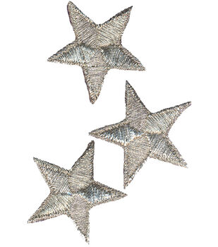 "Wrights Iron-On Appliques-Silver Metallic Stars 2"" 3/Pkg"