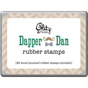 Glitz Design Dapper Dan Rubber Stamps Tin