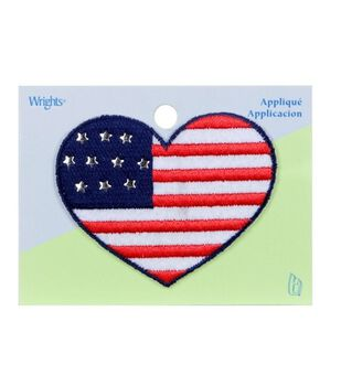 Heart Flag Applq W/Raised Stars
