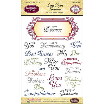 Justrite Stampers Clear Stamp Set Large Elegant Sentiments