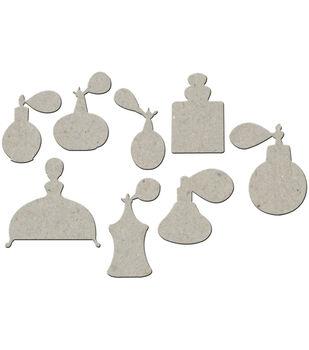 "Die-Cut Grey Chipboard Embellishments-Perfume Bottles 8/Pkg 2.75""X2.75"""