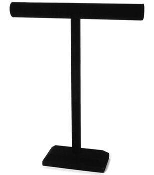 Darice Velvet Single Bar Jewelry Stand Black 18'' x 14''