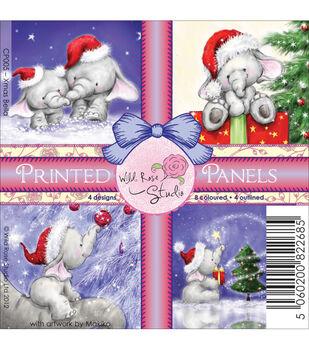 Wild Rose Studio Bella's Christmas Printed Panels Sheets 4''x4''
