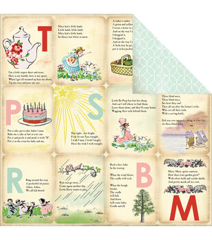 "Nursery Rhymes - Baby Mine Girl Double-sided Cardstock 12""x12"""