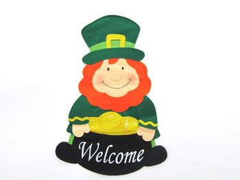Welcome Leprechaun Fabric Door Greeter