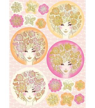 """Kanban Crafts Bella Die-Cut Punch-Out Sheet 8""""X12""""-Ladies Pink"""