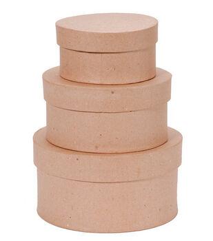 Darice® Set of 3 Paper Mache Boxes-4'',5'' & 6''