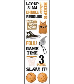 Karen Foster Basketball Clear Stickers-Hoops