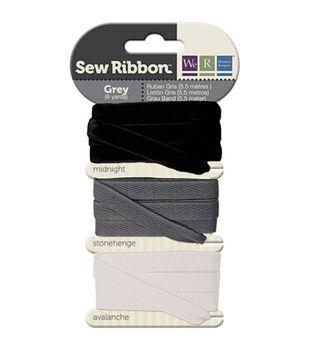 "Sew Ribbon .39""X6yd-Gray"