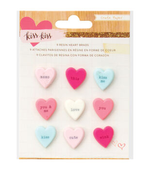 Kiss Kiss Resin embellishments 9/Pkg-Candy Hearts