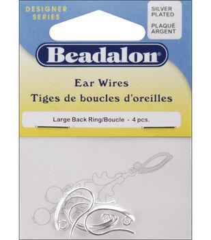 Silver Back Loop Ear Wires 4/Pkg-Large