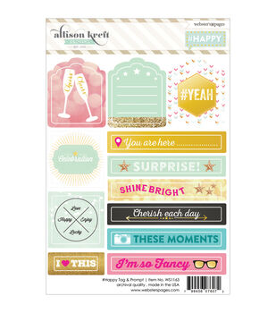 Webster's Pages #HAPPY Tag & Prompt Stickers 4''x6''